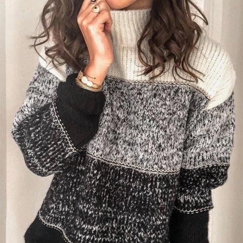 Fashion Color-block Striped Sweater Women Autumn Winter Turtleneck Long Sleeve Pullovers Jumper Loose Pull Femme Casual Knitwear