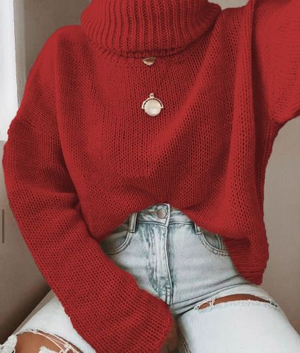 Women Sweaters Knitted Solid Patchwork Turtleneck Sweaters Pullover Spring Button Long Lantern Sleeve Loose Women Sweaters