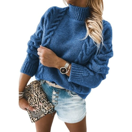 Women Autumn Winter Turtleneck Long Sleeve Knitted Sweaters Ladies Pullovers and Sweaters Ladies Casual Jumper Tops