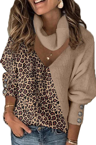 Spring and Autumn Women's Turtleneck Knitted Sweater Fashion Leopard Print Loose Sweater High Quality Sweater