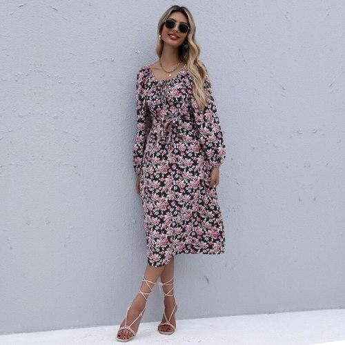 Autumn dress 2021 Flower Square Neck Elastic Smocked Maxi Dresses Long Sleeve Robe Femme vestidos de fiesta Casual Ropa Mujer