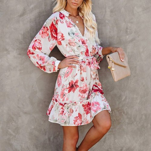 Floral Women Dress Vintage Single Breasted Long Sleeve Ruffled Mini Dress Casual Stand Collar Belt Sash Autumn Dress