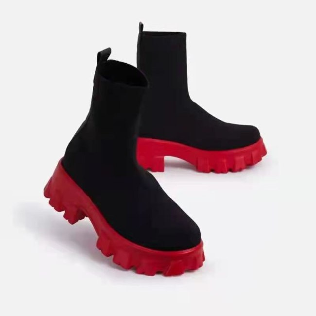 Autumn Winter Couple Socks Shoes Women Thick-soled Casual Large Size Net Red Knitted Short Boots Women botas zapatillas mujer