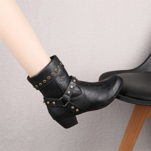 Autumn 2021 Women's Shoes Fashion Short Cylinder Women's Single Boots Fashion Boots Casual Riding Boots All Match Damp Boots
