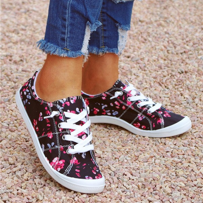Loafers Women Flat Shoes Female Floral Print Lace Up Casual Sport Shoes Comfortable Ladies Vulcanized Shoes Sneakers for Women