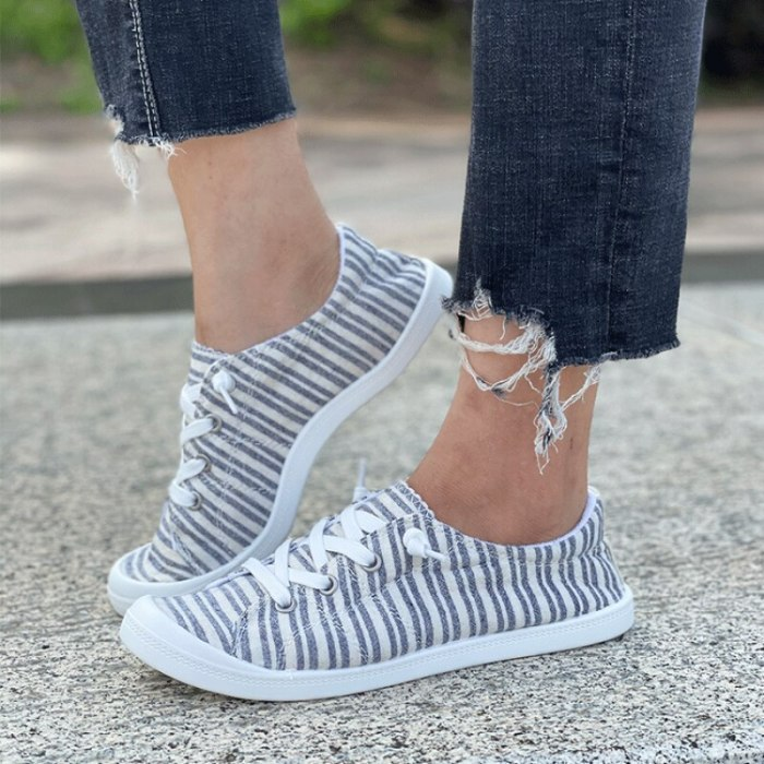 New Summer Women Fashion Casual Everyday Canvas Stripe Print Lace Up Flat Sneakers Comfortable Hot SaleWomen Sneakers888