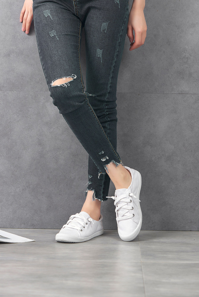 Women Canvas Shoes Ladies Flats Comfortable Sneakers Vulcanize Sprot Shoes Casual Women Shoes Lace-up Ladies Trainers