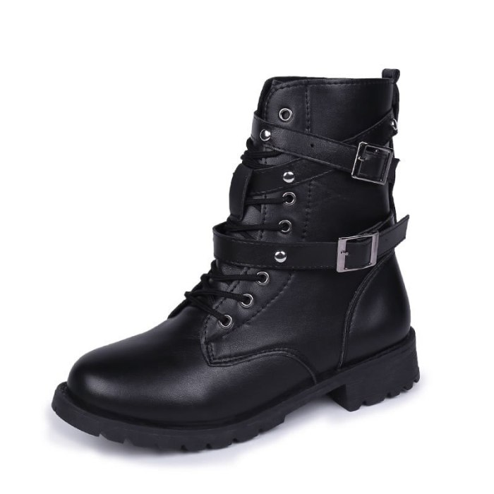 2021 Spring Women Boots Autumn Fashion Black Leather Platform Gothic Boots Punk Combat Mid-Calf Boots for Women