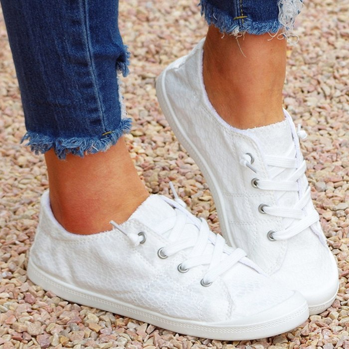 Women Sneakers Casual Canvas Shoes Comfortable Lace-up Ladies Little White Shoes Flat Women's Vulcanized Shoes Females Sneakers