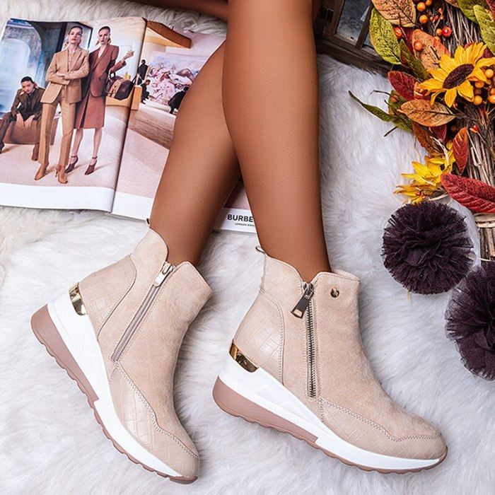 Women Boots Winter Women Snow Boots Wedges Plush Warm Super High Patchwork Female Zipper Thick Bottom Boots Fashion Ankle Boots