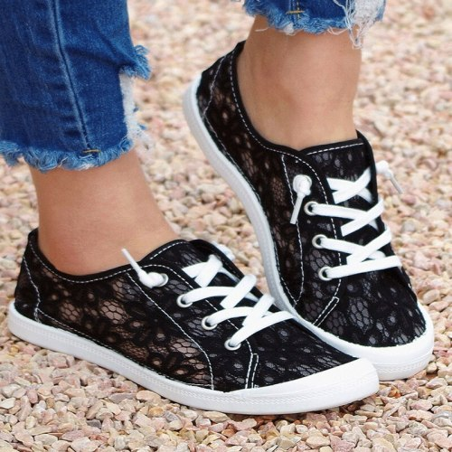 Women's Casual Flats 2021 Fashion New Summer Lace Up Solid Color Comfy Ladies Footwear Breathable Casual Sports Outdoor Sneakers