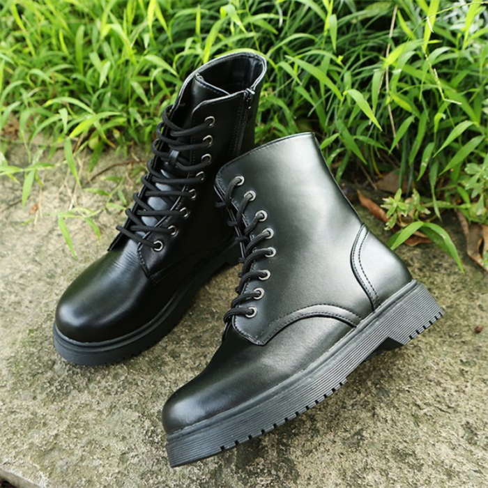 9Women'sMid Calf Casual Boots 2021autumn New Fashtion Platform Thick Heel Round Head Cross Lace-up Women's Motorcycle Short Boot