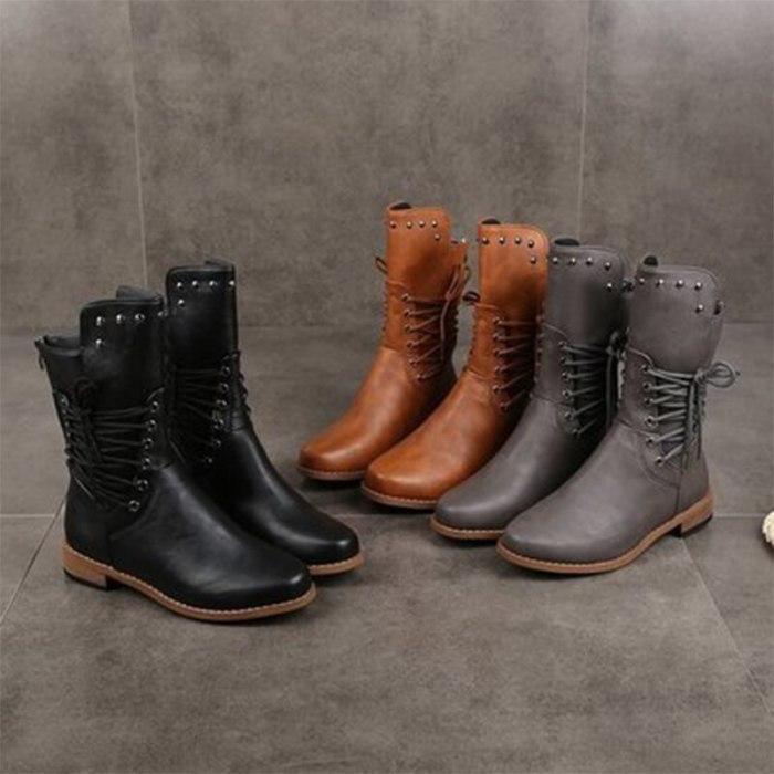 Woman Mid Calf Boots Women Lace Up Rivet Low Heels Female Zip Footwear Ladies Leather Short Boots Women's Shoes Plus Size 43