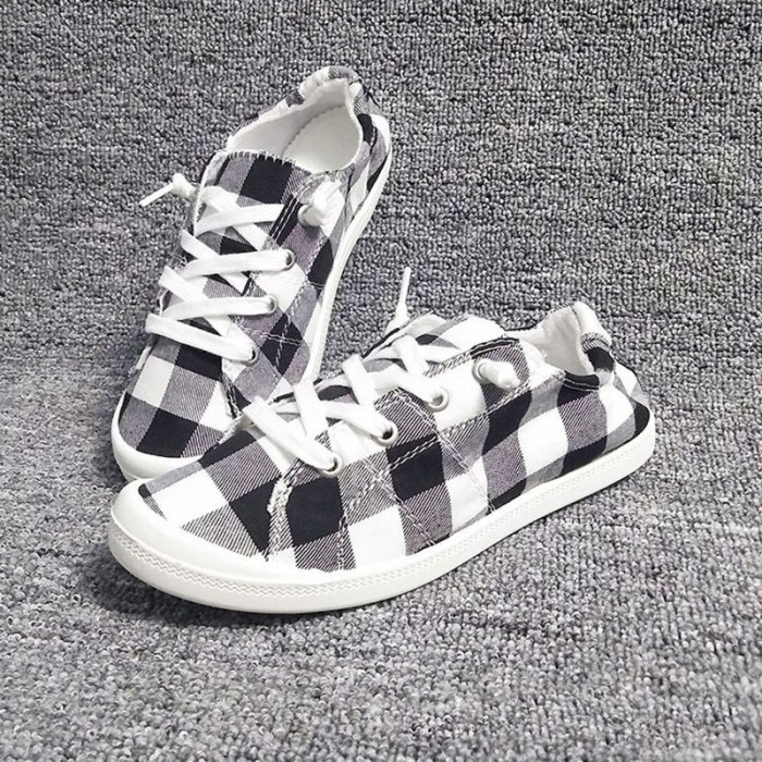 Black White Plaid Cotton Single Shoes Women's Fall 2021 New Casual Breathable Non-slip Comfortable Walking Lady Vulcanized Shoes