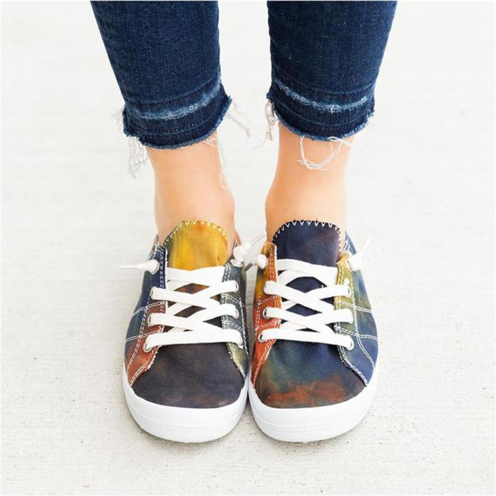 Women Canvas Shoes 2021 All Season Daily Multi Color Ladies Comfy Lace Up Casual Flats Home Outdoor Sport Trendy Sneakers