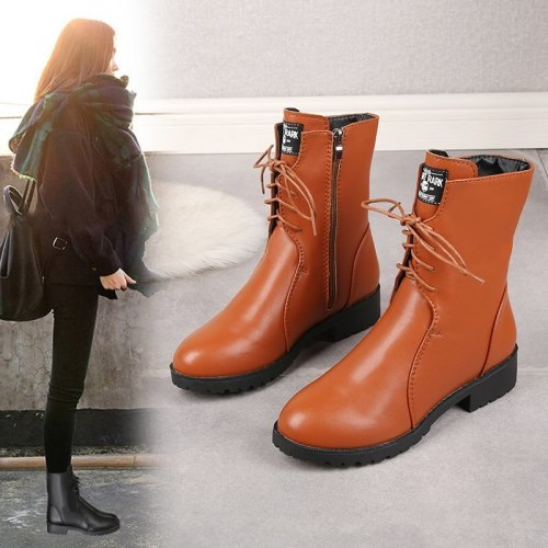 New fashion short boots women's ankle boots side zipper straps non-slip plus velvet warm low thick heel western boots large size