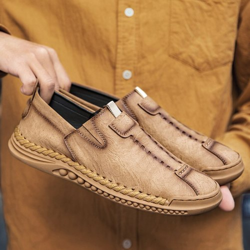Slip-on Mens Casual Shoes Male Walking Driving Training Footwear Handmade Flat Loafers Work Office Business Dress Shoes for Man