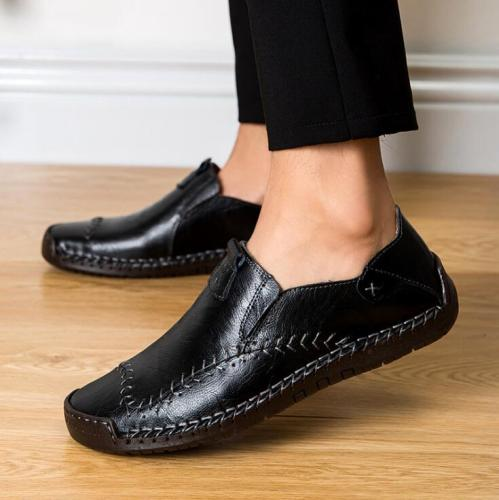 New Handmade Genuine Leather Men Casual Shoes Luxury Brand Men's Loafers Fashion Non-slip Black Flat Moccasins Big Size 38-48