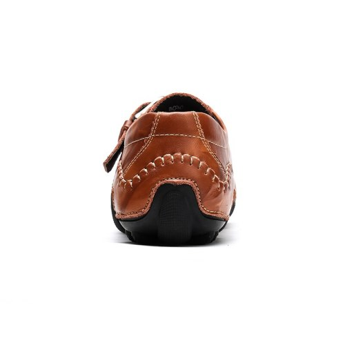 Men'S Shoes Trend Solid Color Pu Hollow Drawstring Elastic Buckle Hand Stitched Comfortable Casual Outdoor Sandals
