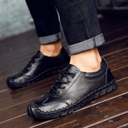 2021 Spring Casual Men Shoes Fashion Sewing Male Loafers Retro Lace Up Men Shoes Handmade Leather Ankle Loafers Male