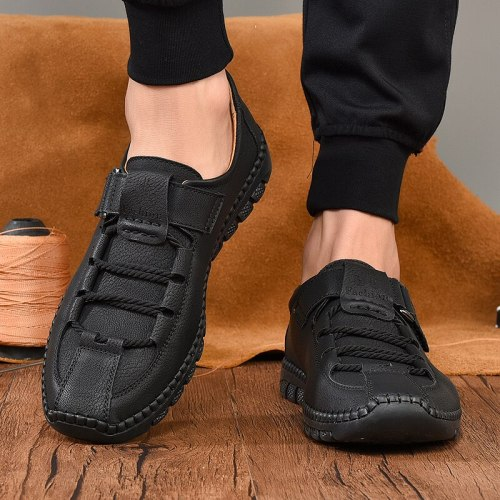 Genuine Leather Men Casual Shoes Fashion Sneakers Handmade Mens Loafers Moccasins Breathable Slip on Boat Shoes Plus Size 38-47