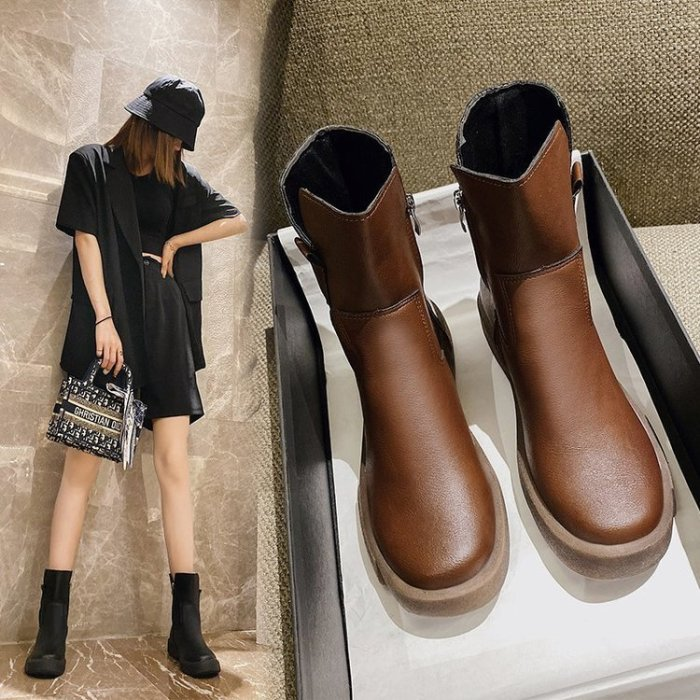 Brand Designer Women White Platform Boots 2021 Chunky Heels Warm Fur Winter Ankle Boots for Women Stylish Side Zip Shoes Woman