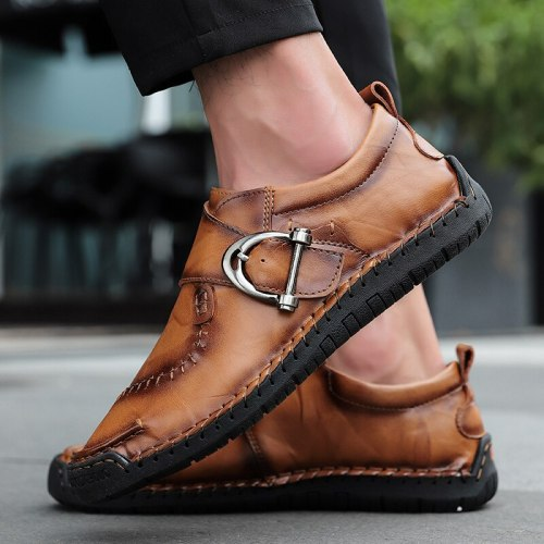 Brand Men Handmade Soft Leather Casual Shoes Outdoor Breathable Flat Man shoes High Quality Men Loafers Moccasins Big Size 38-48
