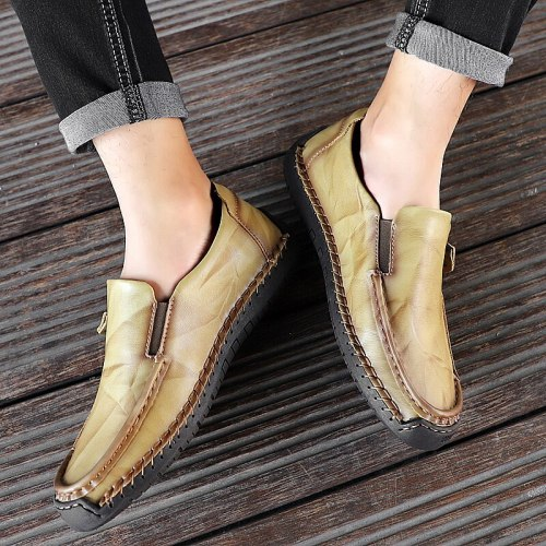 Big Size Men Loafers Light Leather Casual Shoes 2021New Male Outdoor Walking Shoes Comfortable Mens Sneakers Soft Loafers