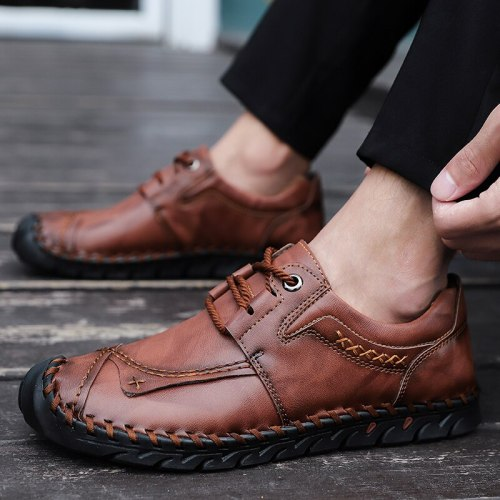 Breathable Handmade Genuine Leather Mens Sneakers Walking Driving Footwear Male Comfortable Outdoor Leisure Shoes Big Size 48