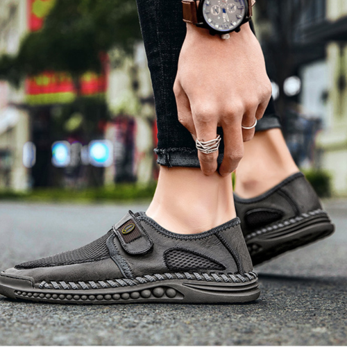 Men's Sandals Male Shoes Leather Mesh Stitching Summer Men Shoes Beach Sandals Fashion Outdoor Casual Sneakers Footwear 38-46