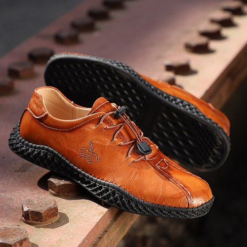 Brand Genuine Leather Men Casual Shoes Outdoor Sneakers Fashion Comfortable Men's Shoes Big Size 38-48 Man Soft Flat Footwear