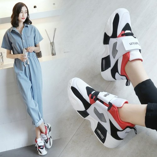 Chunky Sneakers Women Spring Thick Bottom Daddy Shoes Round Toe Breathing Leisure Women Shoes