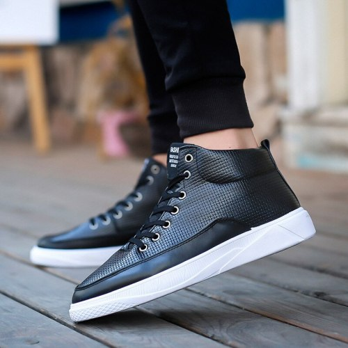 Male Fashion Black High Quality High Shoes Men Casual White Round Toe Pu Leather Shoes