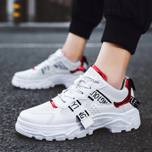 Designer White Leather Shoes Men High Quality Casual Board Shoes  Lace Up Sneakers