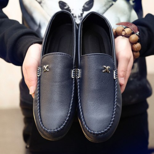 2021 Autumn and Winter New Peas Shoes Men's Casual Shoes Driving Fashion All-match Leather Shoes Breathable Men's Shoes