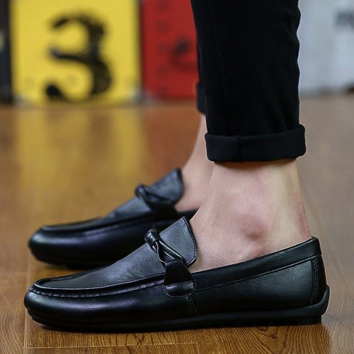 Flats Men Shoes Genuine Leather Shoes Men Casual Comfortable Loafers Men's Moccasins Breathable Waterproof Driving Shoes Slip On