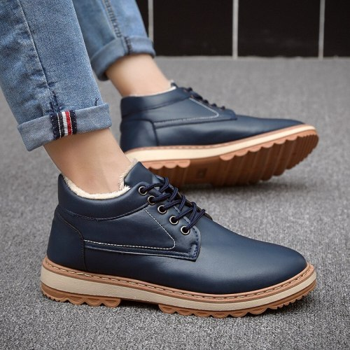 Winter velvet waterproof men's shoes fashion all-match boots  warm leisure with cotton high - top men's shoes work boots black