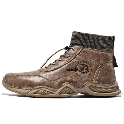 Autumn New Men Boots Shoes Large Size Platform Ankle Boots Plus Velvet Motorcycle Boots Low-cut Socks Boots Outdoor Casual Shoe