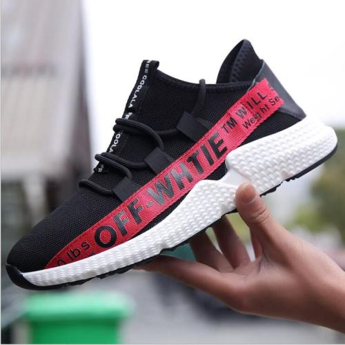 Men's shoes spring and autumn new sports shoes running white shoes flying woven breathable shoes soft sole casual shoes