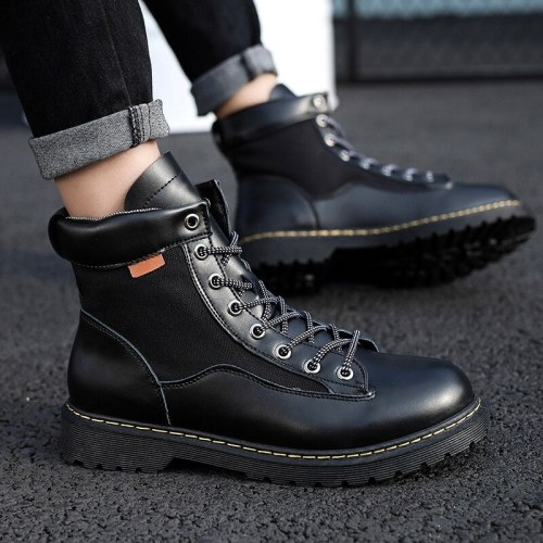 Hot Men Boots Genuine Leather Martens Shoes Men Casual Motorcycle Ankle Boots Doc Martens Male Oxfords Boots Men  Martin Boots