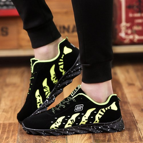 Mens  Shoes Spring Autumn Male Sneakers Striped Lace-Up Zapatos Flock Tennis Breathable Casual