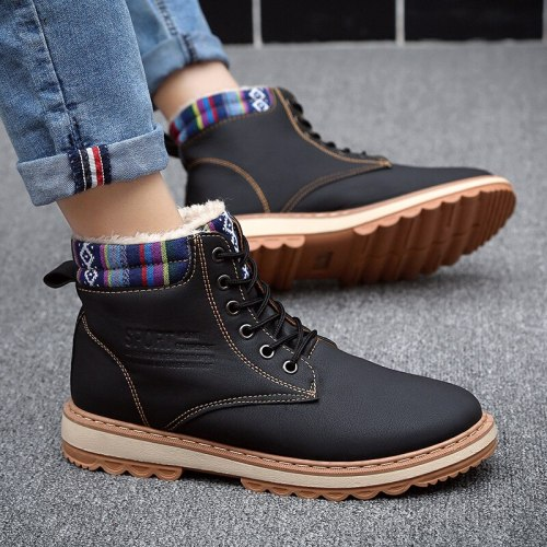 Men Snow Boots Winter Warm Outdoor Snow Walking Ankle Boots 2021 New Winter Male Comfortable Plush Casual Winter Boots Mens Boot