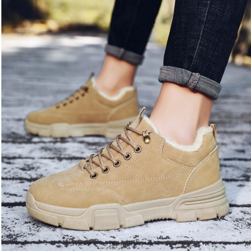 Fashion Winter Autumn Men's Boots Plush Lining for Warm Working Boots Lace Up Sneakers Round Toe Casual Shoes