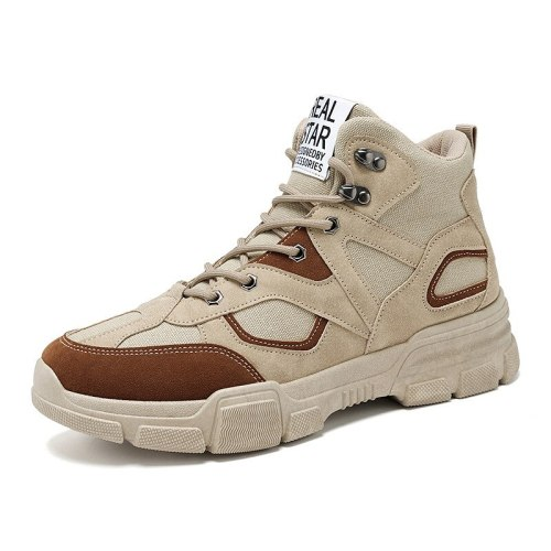 Autumn Fashion Casual Non Slip Snow Boots Chaussure Homme High Top Leather Tooling Winter Shoes Men Footwear Botas