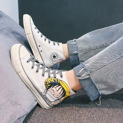 Men's Canvas Shoes Luffy One Piece Canvas Shoes Four Seasons Anime One Piece Comic High-Top Canvas Sneakers