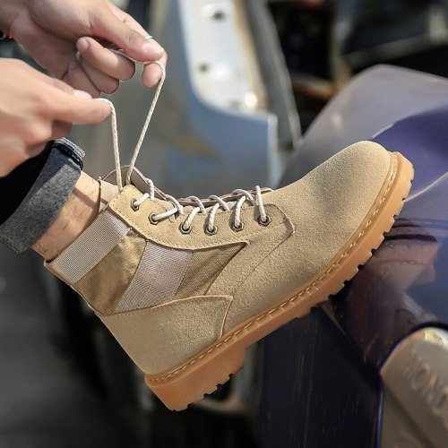 Men's Leather Boots 2021 Autumn And Winter Handsome Stitching High Men's Shoes Casual Outdoor Non-slip Men's Boots