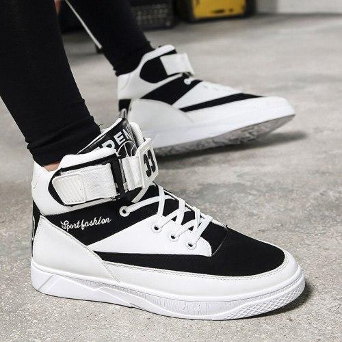 Men's Shoes New Fashion High Top Sneakers Men Casual Canvas Shoes Boys Zapatos De Hombre Tenis Masculino Lace Up