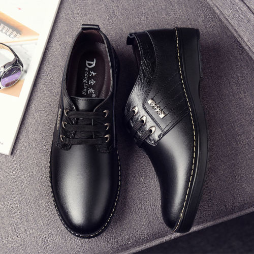 Men's real leather shoes trend all-match Dress shoes male breathable casual shoes British black business Genuine leather shoes