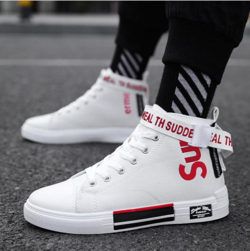 Spring New Model Hight-Top Sports Footwear Korean Style Ins Shoes Men's Canvas Skate Shoes Fashion White Men's Shoes