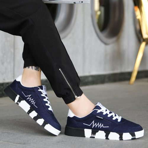 Plus size canvas adult men's sneakers for running summer men shoes sport lightweight men's sports shoes light weight blue